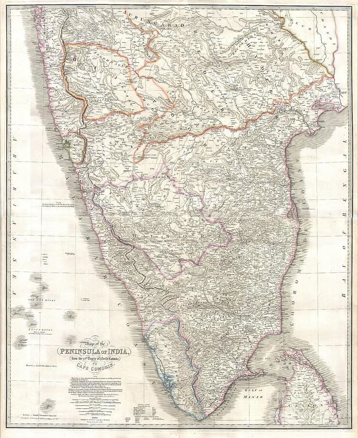 This Stunning Wall Map Of India Photograph - 1838 Wyld Wall Map Of India by Paul Fearn