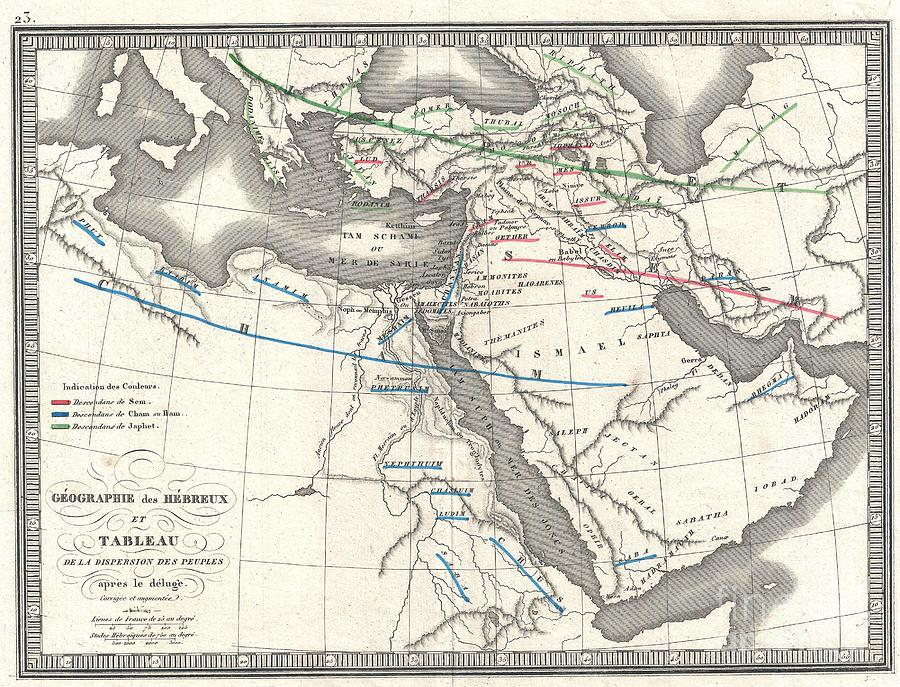 1839 Monin Map Of The Hebrew Peoples Dispersal After The Flood Photograph  - 1839 Monin Map Of The Hebrew Peoples Dispersal After The Flood Fine Art Print