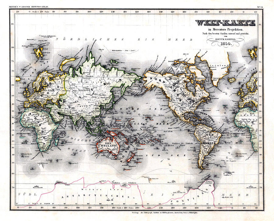 1850 Antique World Map Welt Karte In Mercators Projektion Photograph  - 1850 Antique World Map Welt Karte In Mercators Projektion Fine Art Print