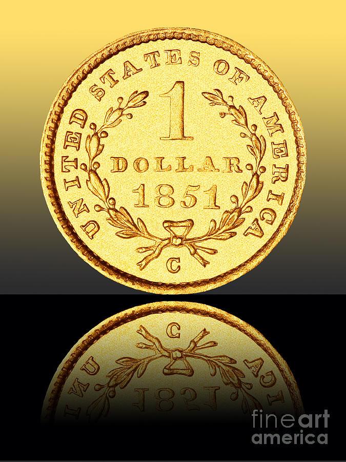 Coin Photograph - 1851 1 Dollar Rare Charlotte Gold by Jim Carrell