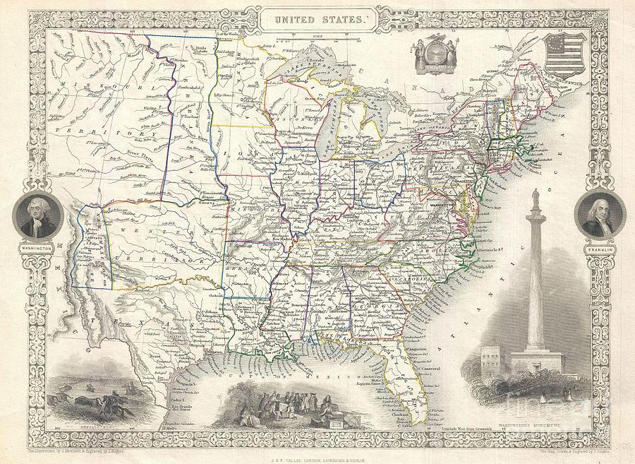 """This Is A Fascinating 1851 Map Of The United States By The English Map And Atlas Publisher John Tallis And His Engraver John Rapkin. Covers The United States From And Santa Fe North Through The Missouri Territory To Canada And East To The Atlantic. The Trans-mississippi Region Is Exceptionally Interesting With A Fascinating (if Somewhat Inaccurate Even At The Time) Depiction Of The Political Geography. A Long Narrow Nebraska Territory Extends To Canada. There Is A Large """"western Territory Roughly Where Oklahoma Is Today. Probably The Most Interesting Element Of This Map Is Its Curious Treatment Of The New Mexico Territory. In The Previous Edition Of This Map Photograph - 1851 Tallis And Rapkin Map Of The United States by Paul Fearn"""