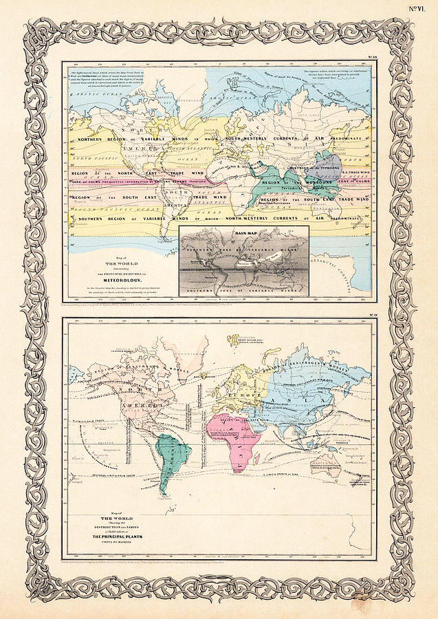 1855 Antique World Maps Illustrating Principal Features Of Meteorology Rain And Principal Plants Photograph