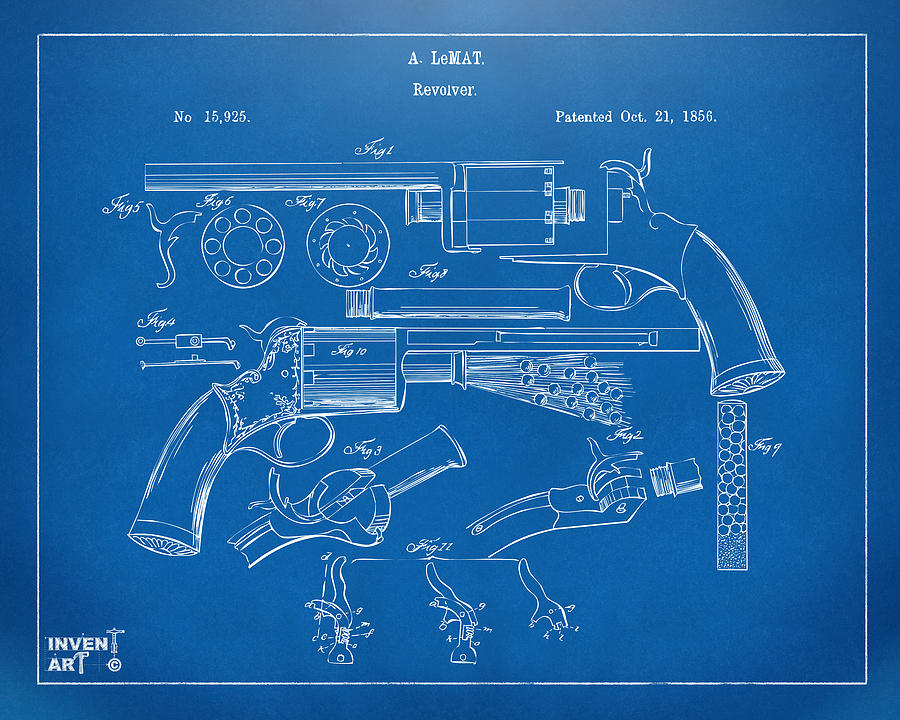 1856 Lemat Revolver Patent Artwork Blueprint Drawing By