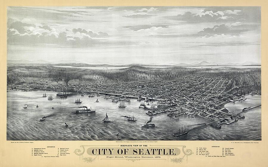1878 Seattle Washington Map Photograph