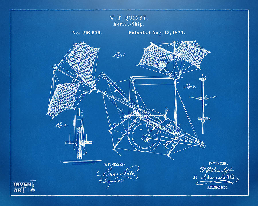 Aerial Ship Drawing - 1879 Quinby Aerial Ship Patent - Blueprint by Nikki Marie Smith