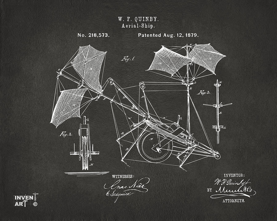 Aerial Ship Drawing - 1879 Quinby Aerial Ship Patent - Gray by Nikki Marie Smith