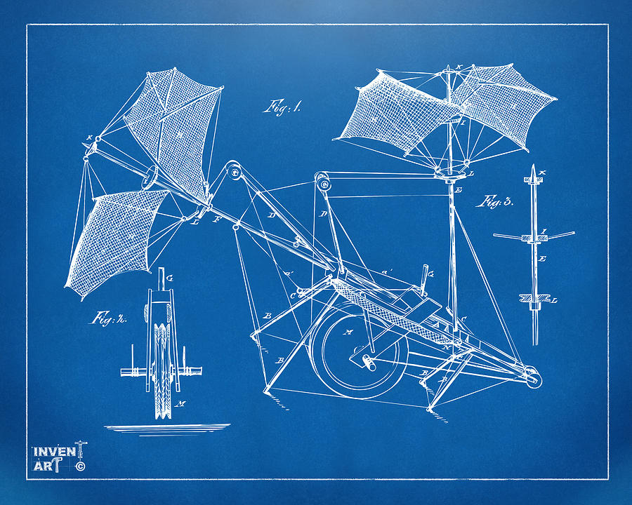 Aerial Ship Drawing - 1879 Quinby Aerial Ship Patent Minimal - Blueprint by Nikki Marie Smith