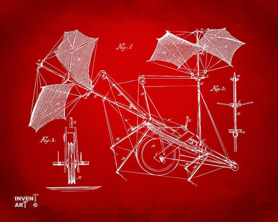 1879 Quinby Aerial Ship Patent Minimal - Red Drawing