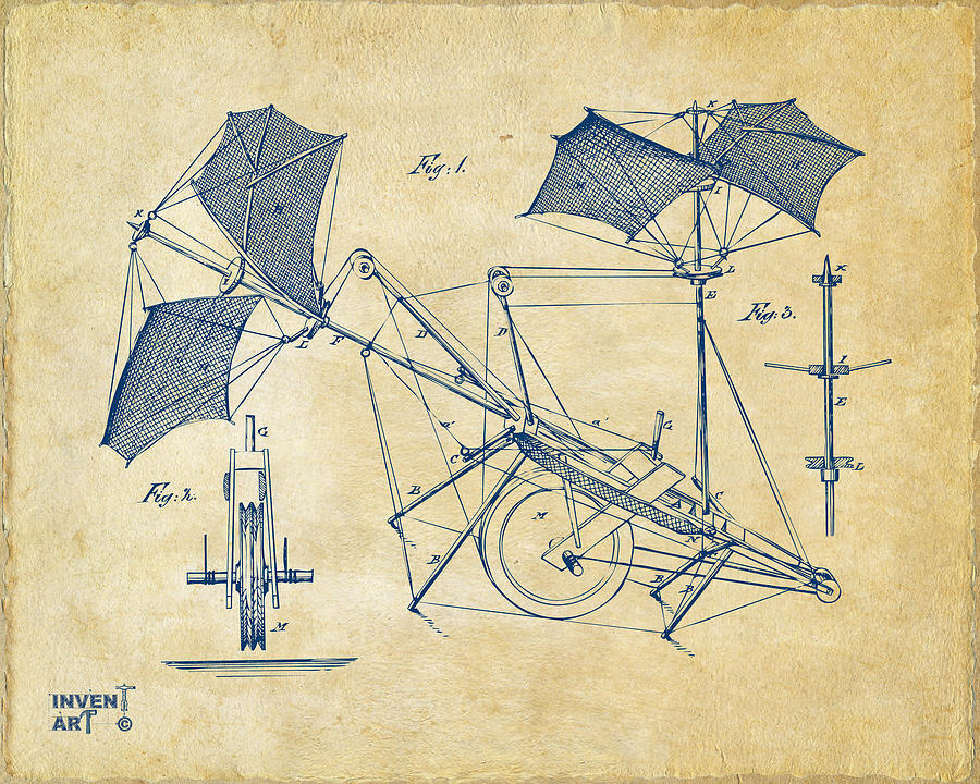 1879 Quinby Aerial Ship Patent Minimal - Vintage Drawing