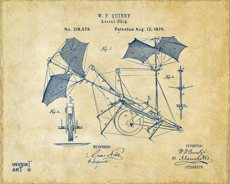 Aerial Ship Drawing - 1879 Quinby Aerial Ship Patent - Vintage by Nikki Marie Smith
