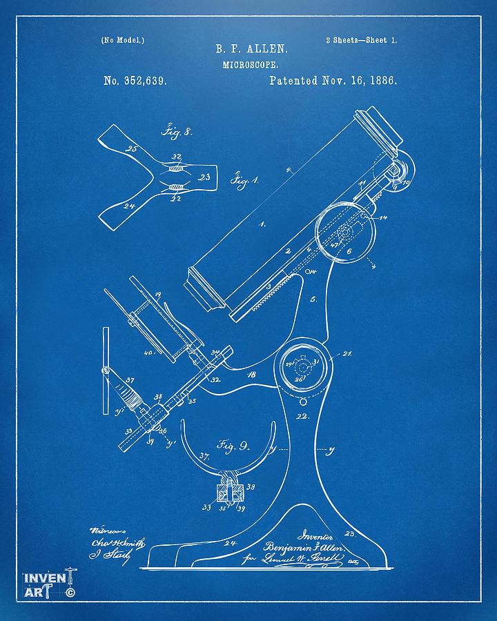 1886 Microscope Patent Artwork - Blueprint Drawing