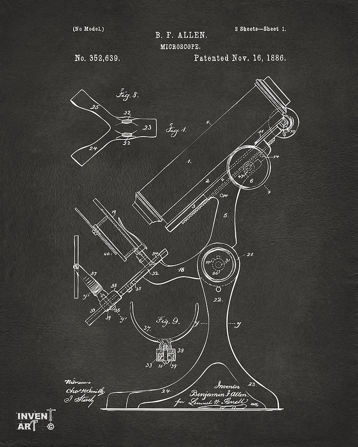 1886 Microscope Patent Artwork - Gray Drawing