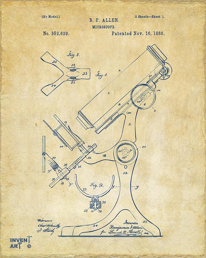 1886 Microscope Patent Artwork - Vintage Drawing
