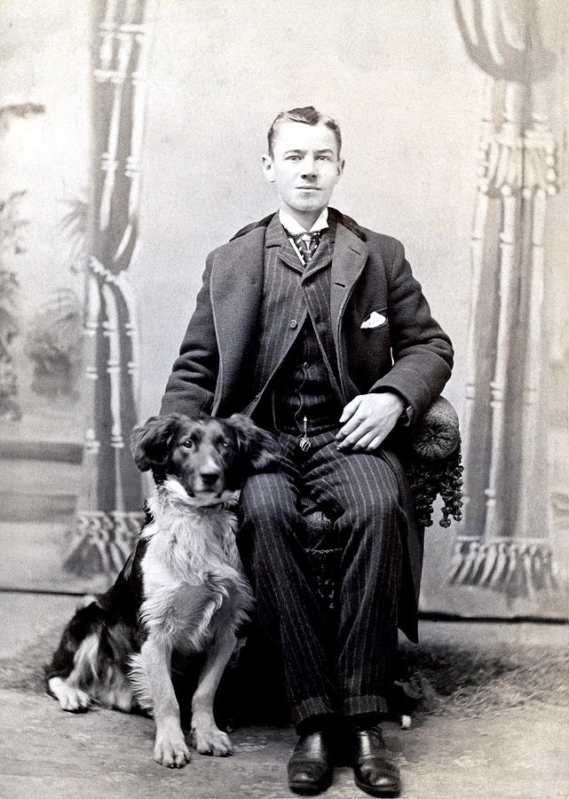 1890 Gentleman And His Dog Photograph