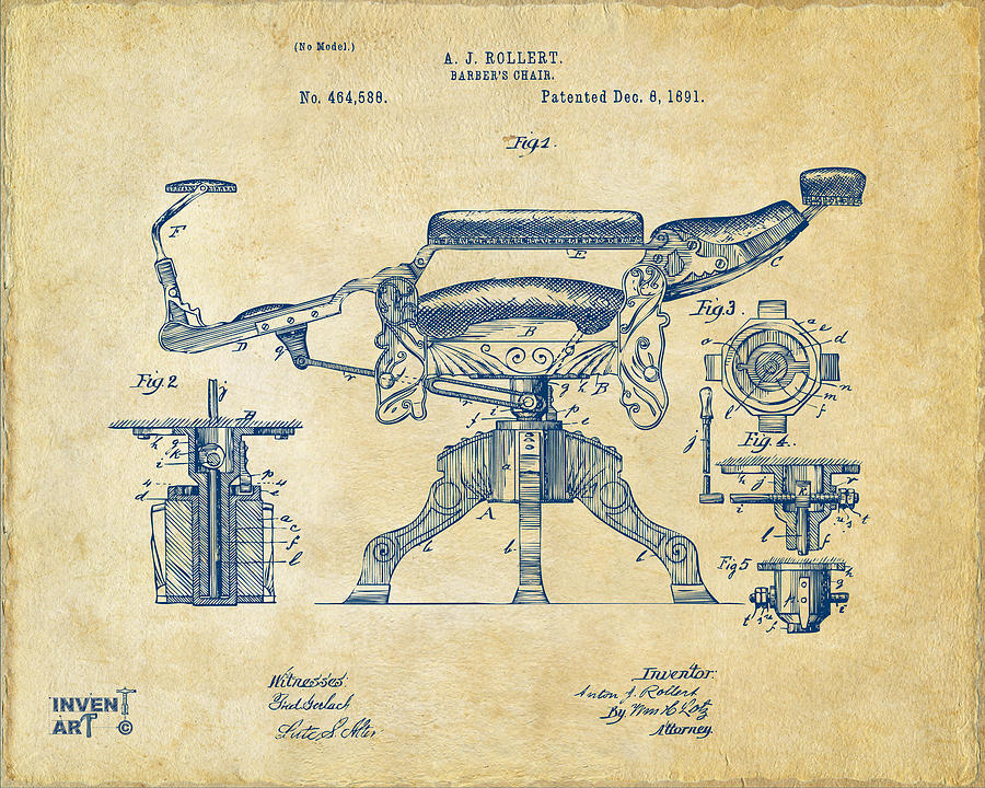 Barber chair drawing 1891 barbers chair patent artwork vintage by