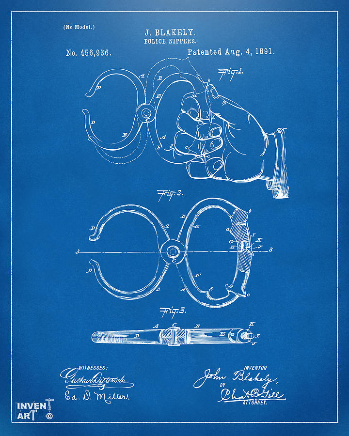 1891 Police Nippers Handcuffs Patent Artwork - Blueprint Drawing
