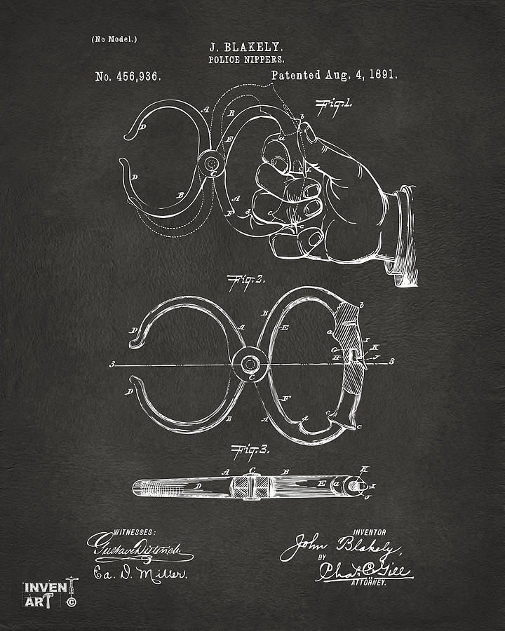 1891 Police Nippers Handcuffs Patent Artwork - Gray Drawing