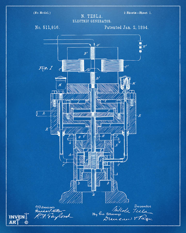 1894 tesla electric generator patent blueprint drawing by for Blueprint generator free