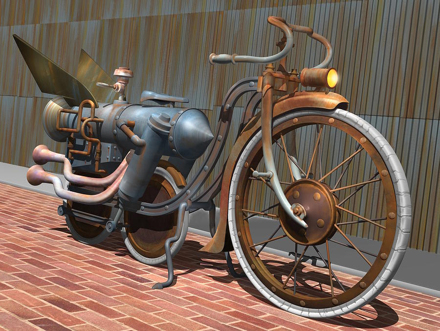 1899 Inline Steam Trike Digital Art