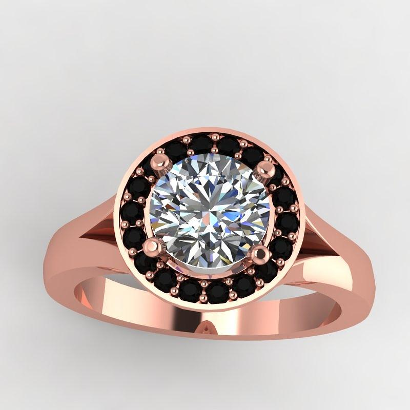 18k Rose Gold Black Diamond Ring With Moissanite Center Stone Jewelry