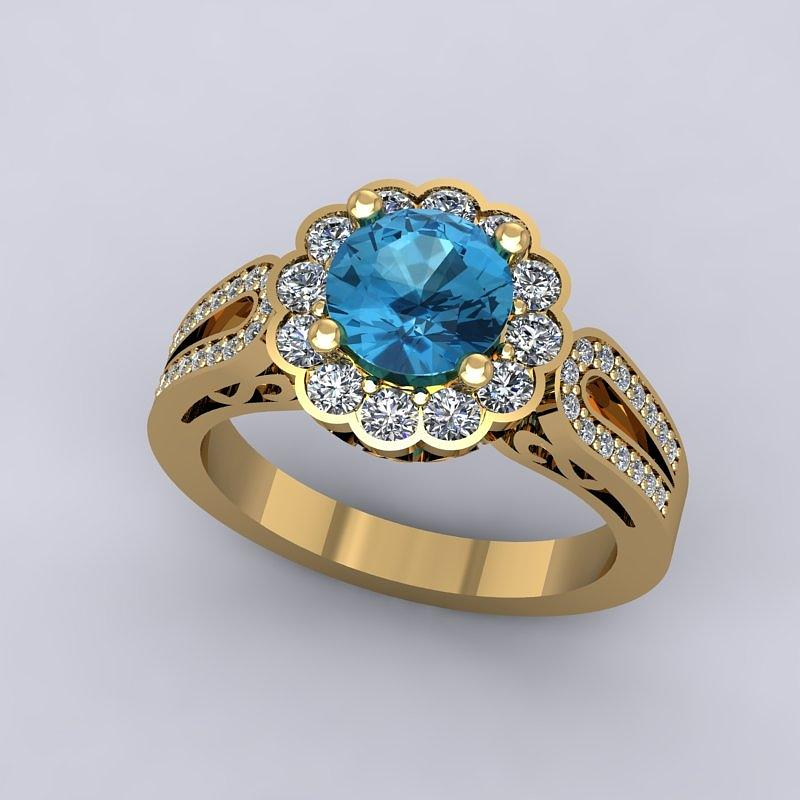 18k Yellow Gold Diamond Ring With Blue Topaz Center Stone Jewelry