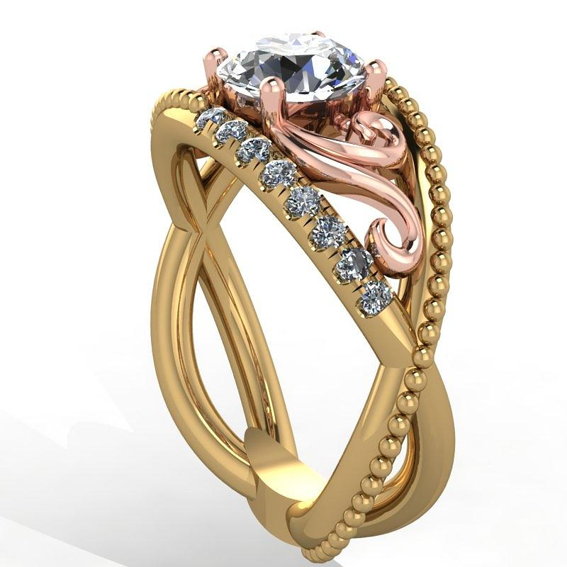 18k Yellow Rose Gold Diamond Ring With  Jewelry