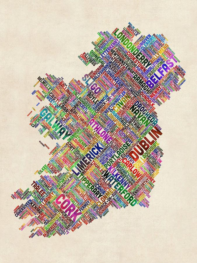 Ireland Map Digital Art - Ireland Eire City Text Map by Michael Tompsett