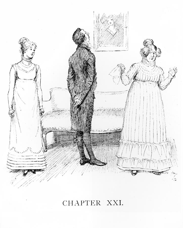 Mr; Collins; Elizabeth Bennett; Mrs; Bennett; Character; Drama; Admiring A Painting; Empire Line; Regency; Georgian; Characters; Proposal; Mother; Daughter; Despair; Despairing; Pompous; Clergyman; Reverend Jane Drawing - Scene From Pride And Prejudice By Jane Austen by Hugh Thomson