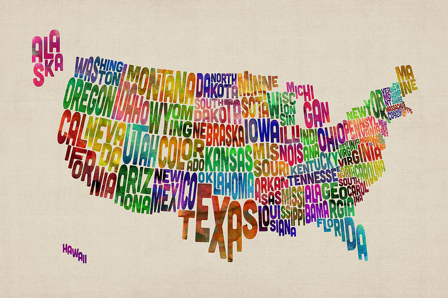United States Typography Text Map Digital Art
