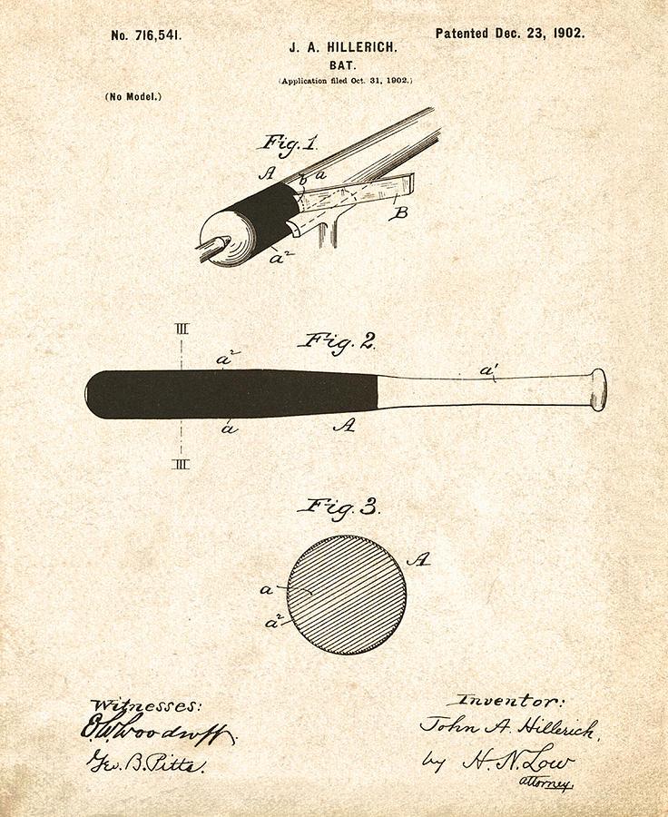 John Drawing - 1902 Baseball Bat Patent by Digital Reproductions