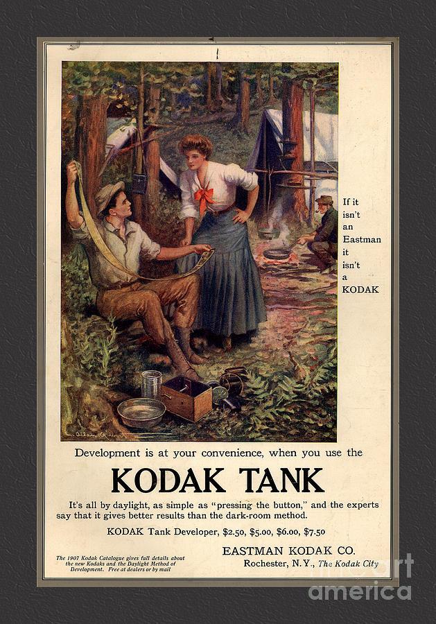 1907 Vintage Kodak Tank Advertising Mixed Media