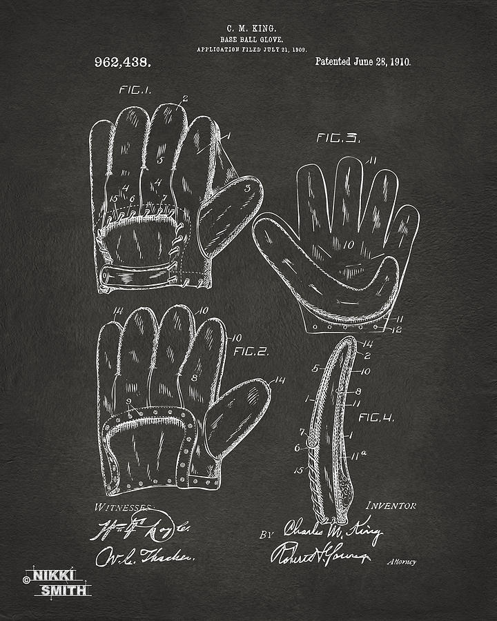 1910 Baseball Glove Patent Artwork - Gray Drawing
