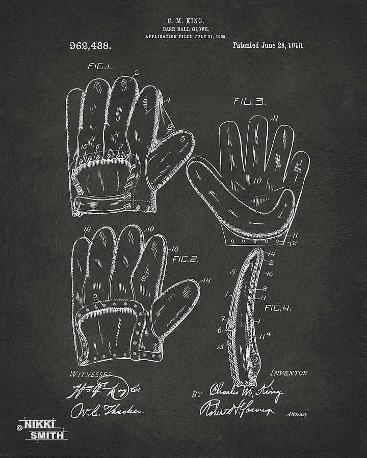 Baseball Drawing - 1910 Baseball Glove Patent Artwork - Gray by Nikki Marie Smith
