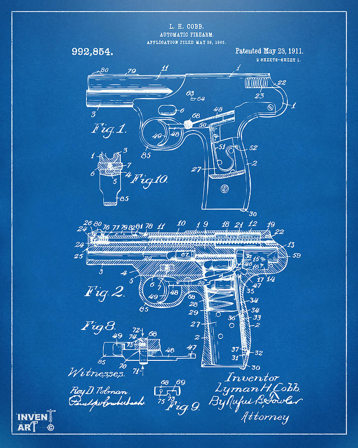 1911 Automatic Firearm Patent Artwork - Blueprint Drawing