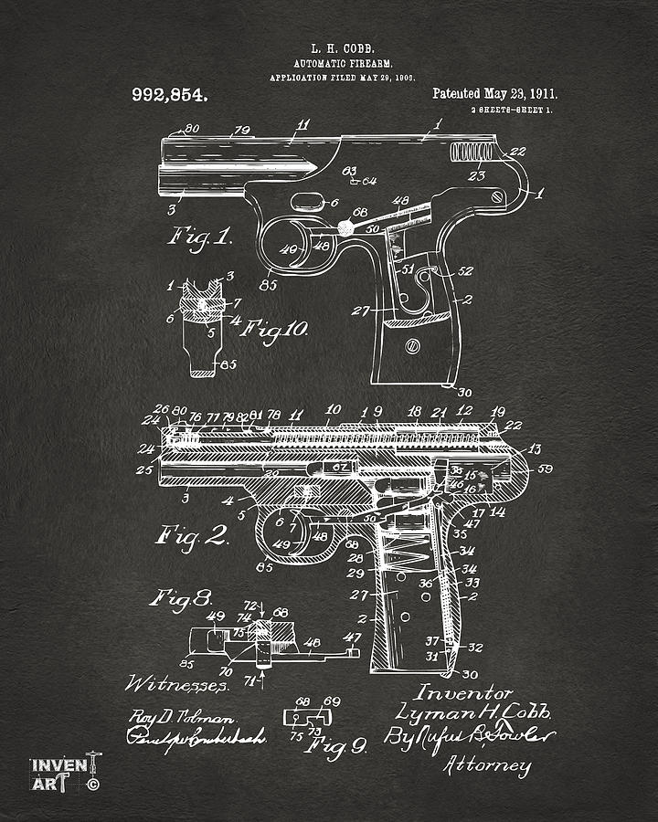 Police Gun Drawing - 1911 Automatic Firearm Patent Artwork - Gray by Nikki Marie Smith