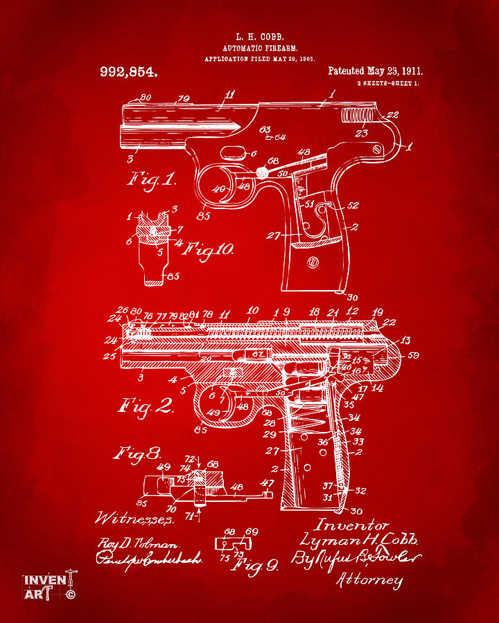 Police Gun Drawing - 1911 Automatic Firearm Patent Artwork - Red by Nikki Marie Smith