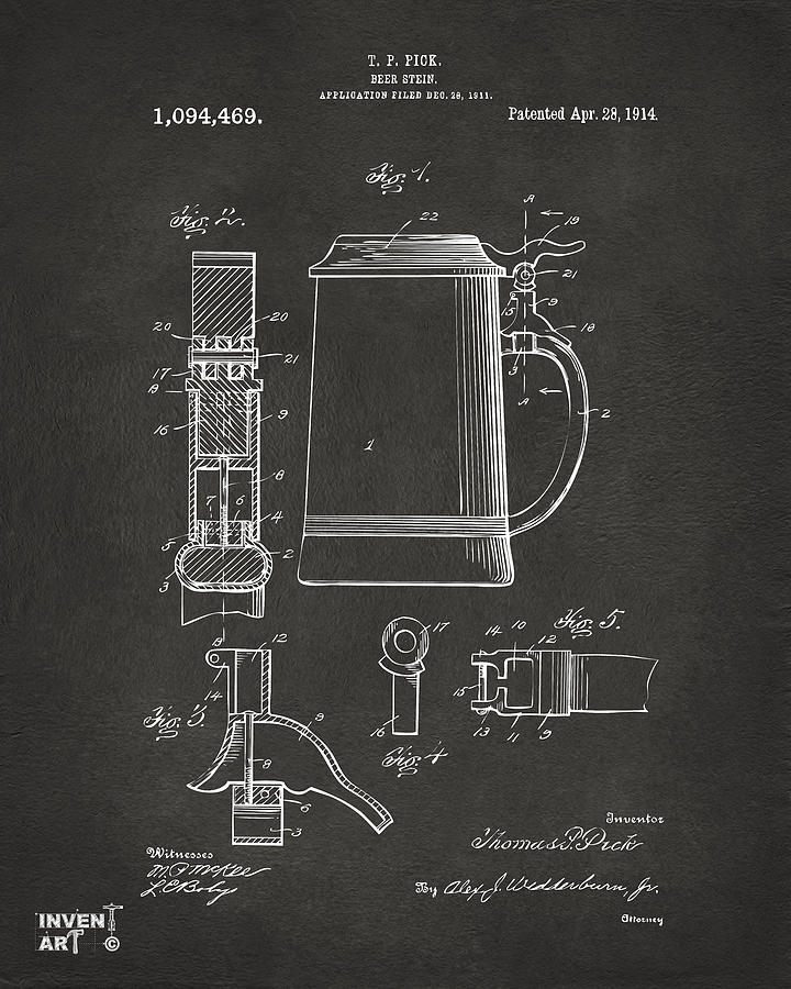 Beer Stein Drawing - 1914 Beer Stein Patent Artwork - Gray by Nikki Marie Smith