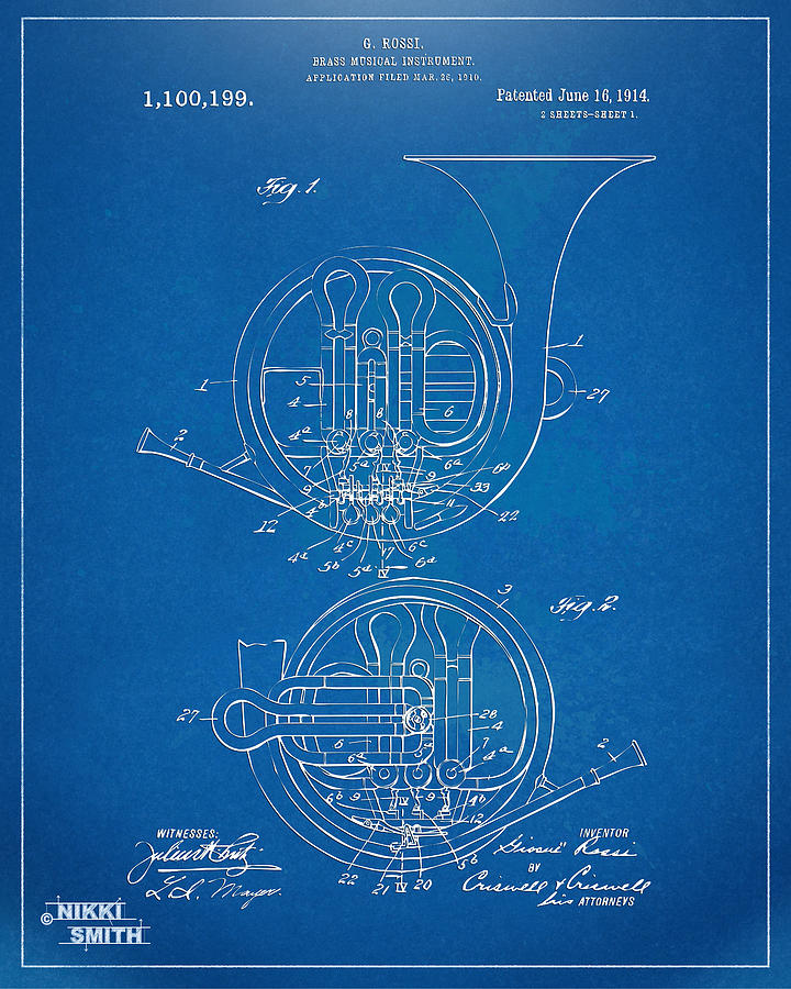 1914 French Horn Patent Blueprint Drawing
