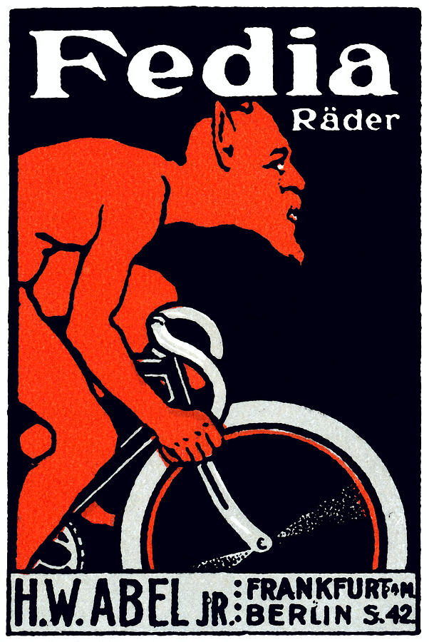 1920 Devil Riding A Bicycle Painting