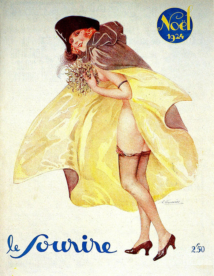 1920s France Le Sourire Magazine Cover Drawing  - 1920s France Le Sourire Magazine Cover Fine Art Print