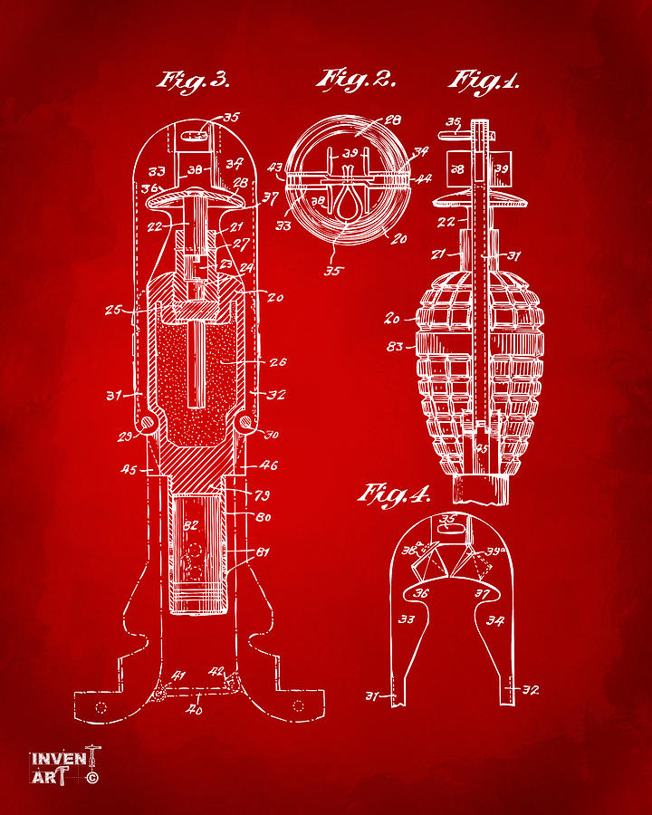 1921 Explosive Missle Patent Minimal Red Drawing