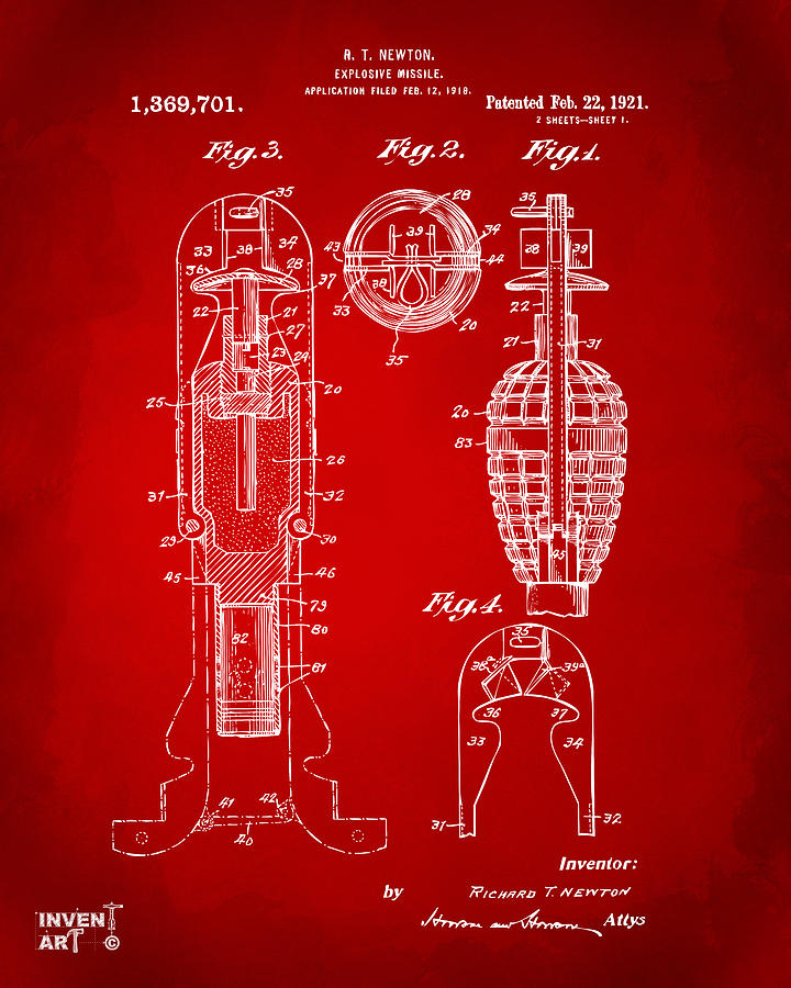 Explosive Missle Drawing - 1921 Explosive Missle Patent Red by Nikki Marie Smith