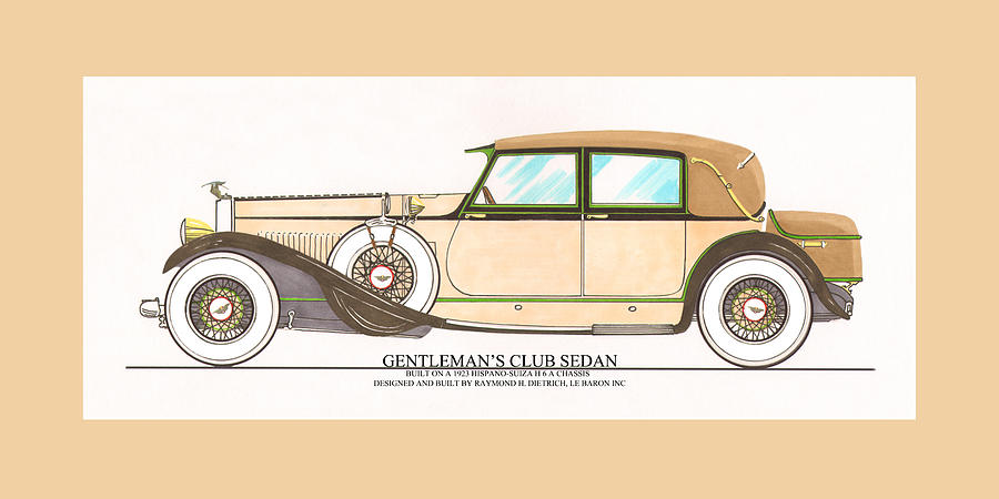 1923 Hispano Suiza Club Sedan By R.h.dietrich Painting