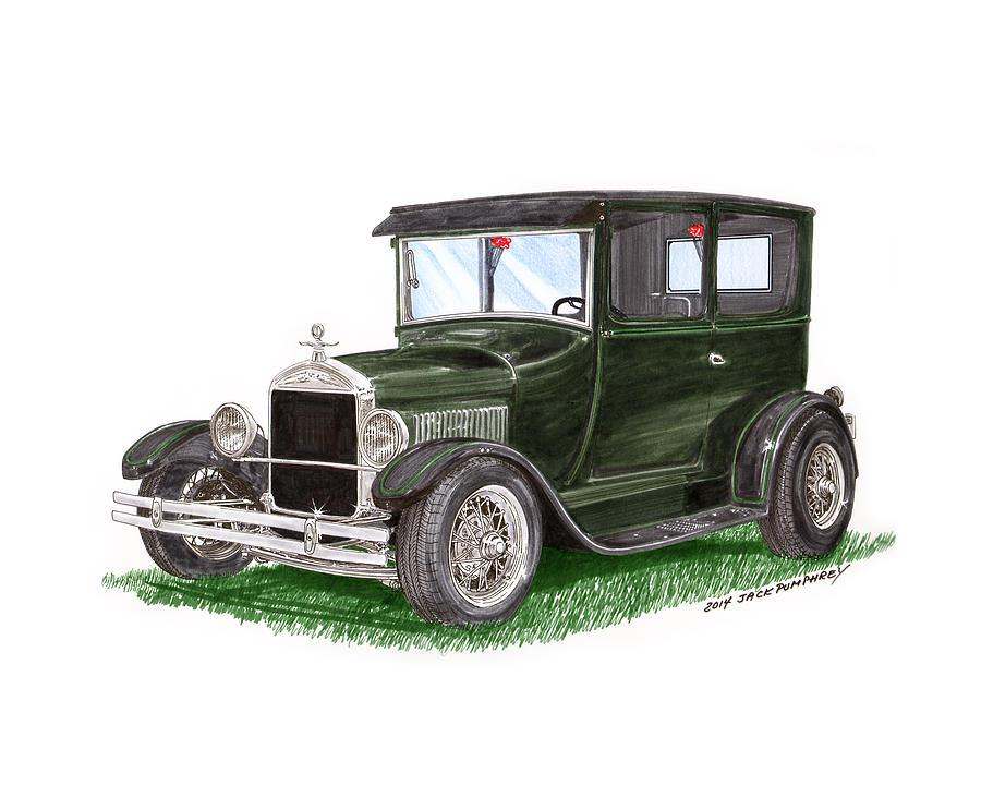 The Ford Model T Painting - 1926 Ford Tudor Sedan Street Rod by Jack Pumphrey