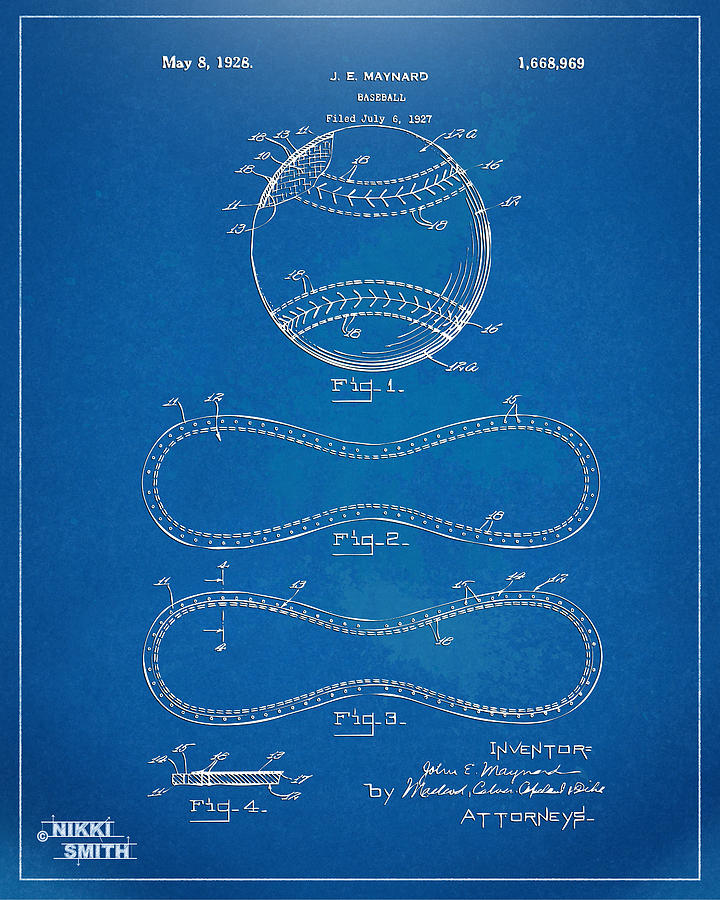 1928 Baseball Patent Artwork - Blueprint Drawing
