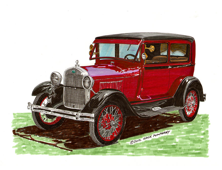 1928 Ford Model A Two Door Painting  - 1928 Ford Model A Two Door Fine Art Print