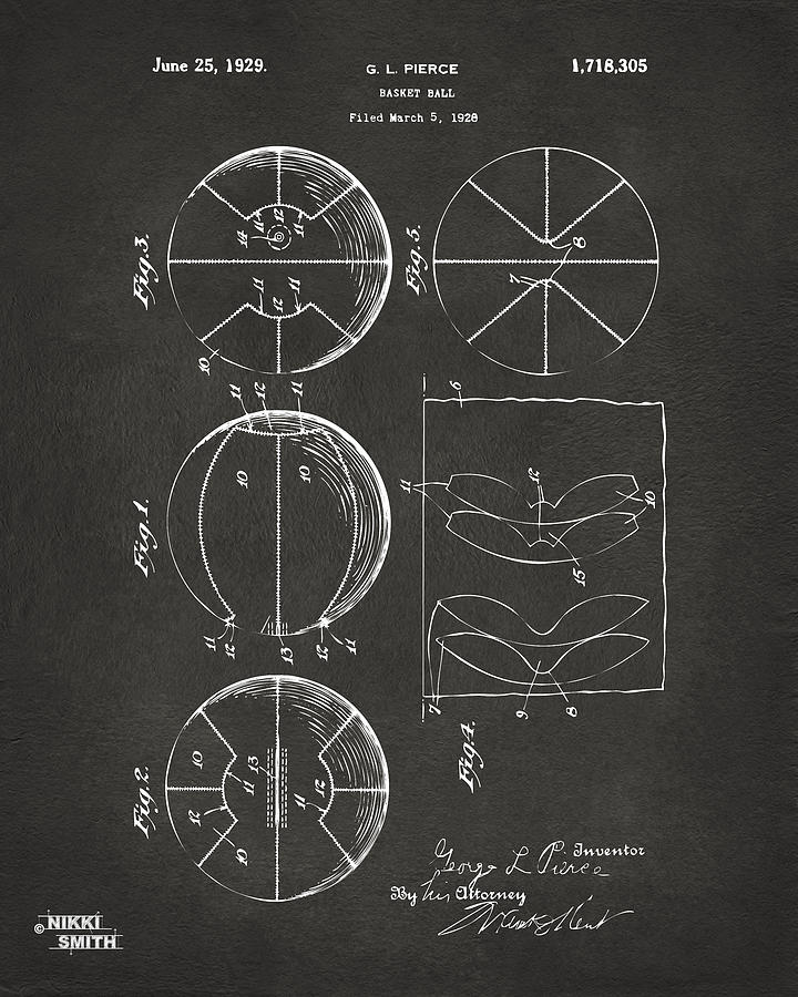 1929 Basketball Patent Artwork - Gray Drawing