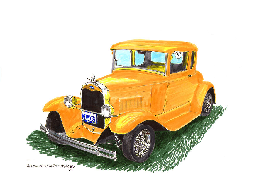 1931 Yellow Ford Coupe Painting  - 1931 Yellow Ford Coupe Fine Art Print