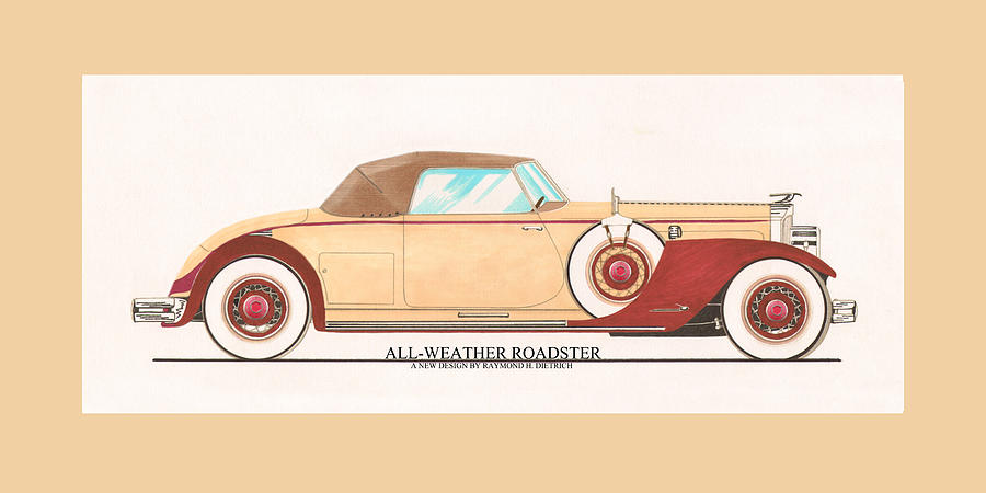 1932 Packard All Weather Roadster By Dietrich Concept Painting  - 1932 Packard All Weather Roadster By Dietrich Concept Fine Art Print