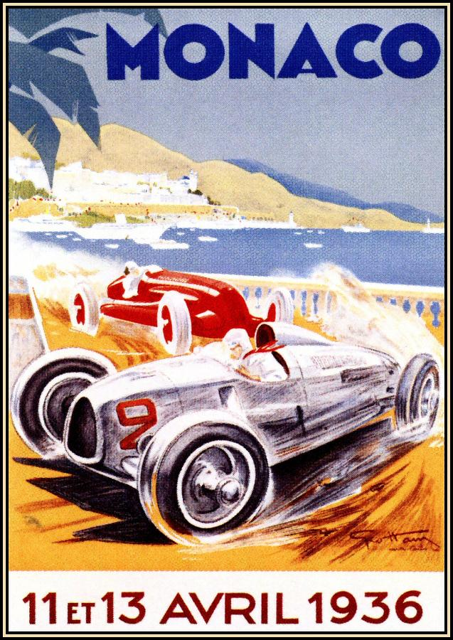 1936 F1 Monaco Grand Prix  Digital Art